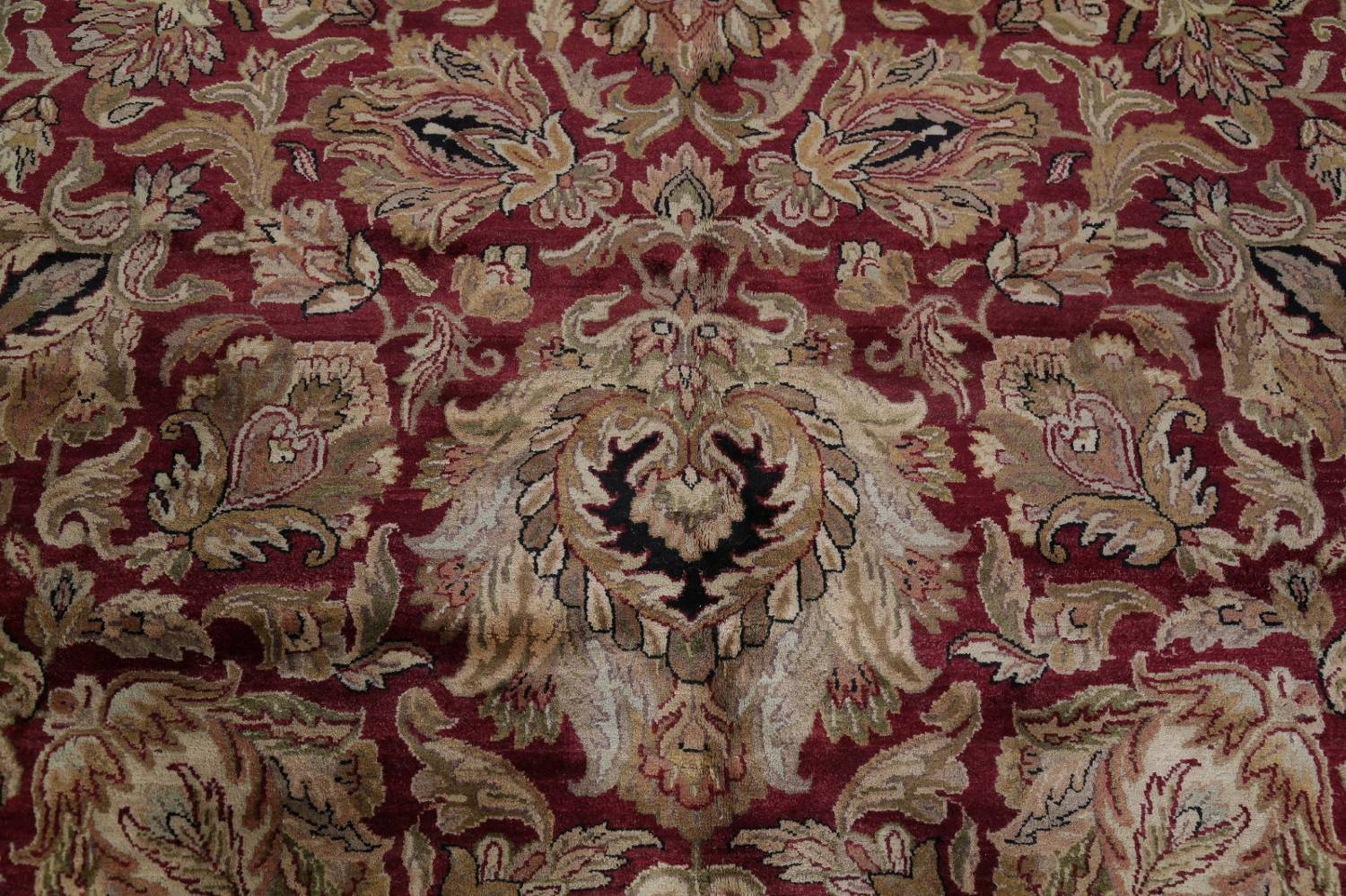 Mansion Floral Burgundy Agra Oriental Hand-Knotted Rug Wool 12x18 image 10