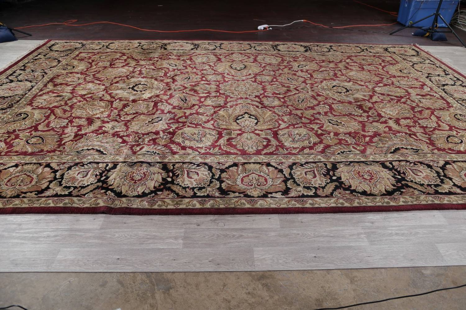 Mansion Floral Burgundy Agra Oriental Hand-Knotted Rug Wool 12x18 image 14