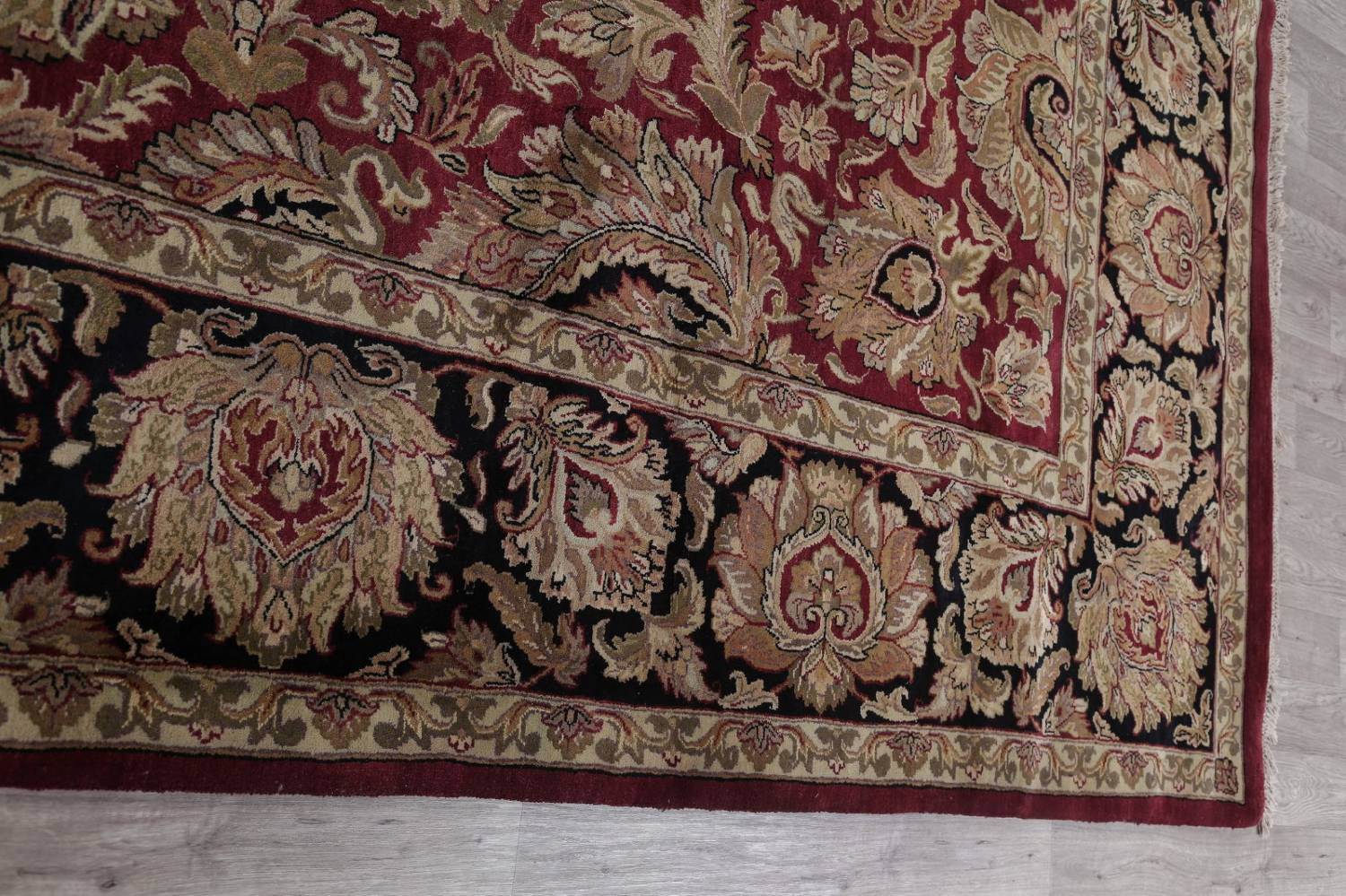 Mansion Floral Burgundy Agra Oriental Hand-Knotted Rug Wool 12x18 image 13