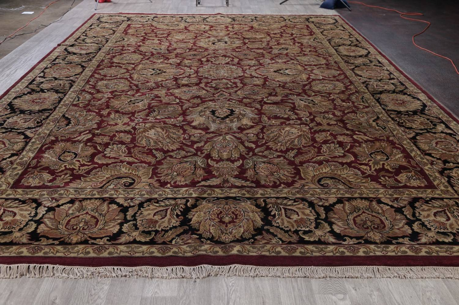 Mansion Floral Burgundy Agra Oriental Hand-Knotted Rug Wool 12x18 image 15