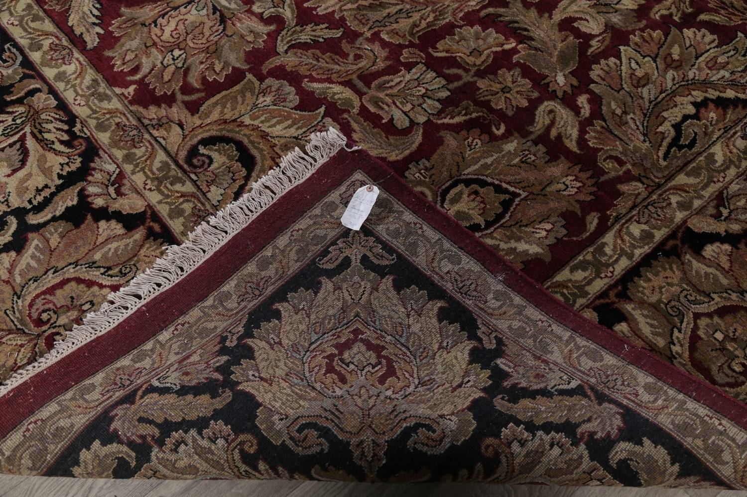 Mansion Floral Burgundy Agra Oriental Hand-Knotted Rug Wool 12x18 image 20