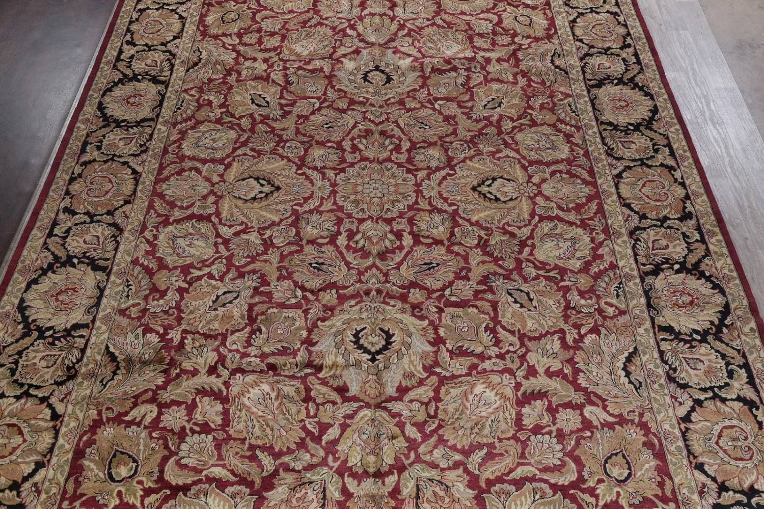Mansion Floral Burgundy Agra Oriental Hand-Knotted Rug Wool 12x18 image 3