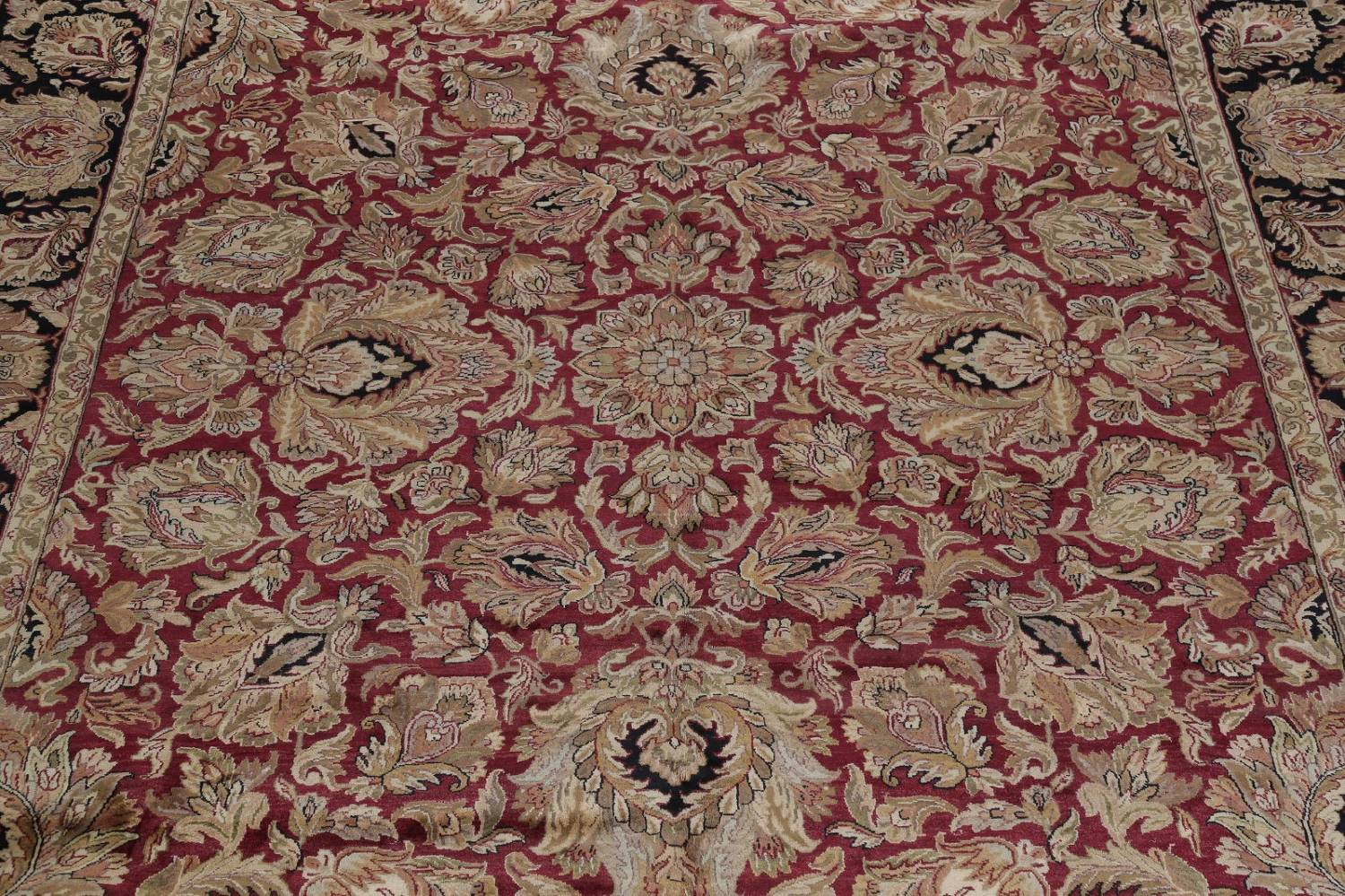Mansion Floral Burgundy Agra Oriental Hand-Knotted Rug Wool 12x18 image 4