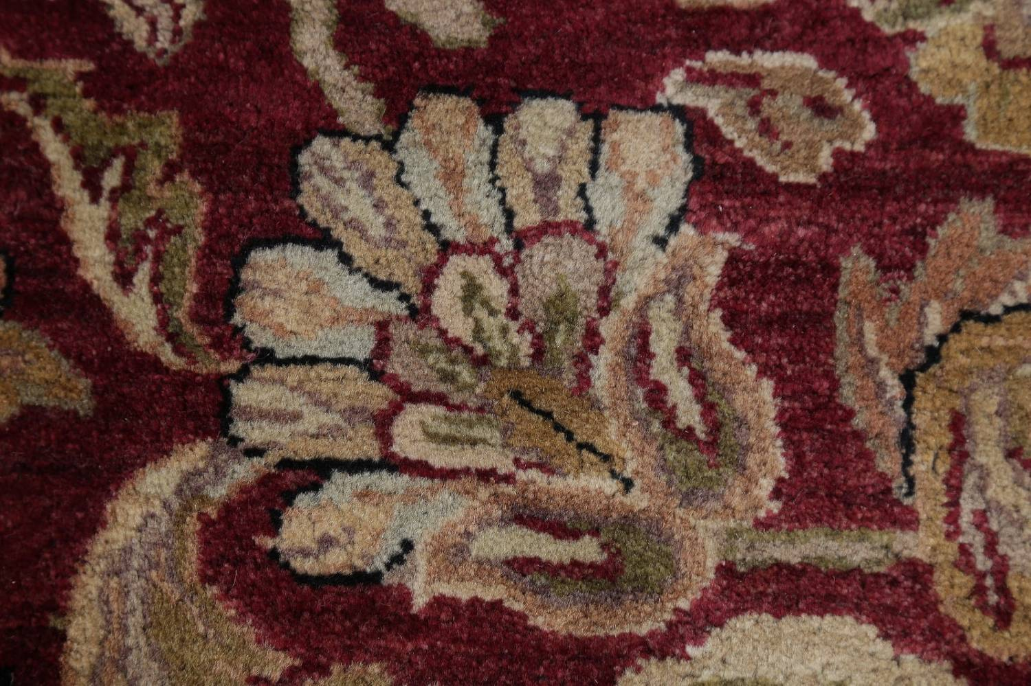 Mansion Floral Burgundy Agra Oriental Hand-Knotted Rug Wool 12x18 image 8