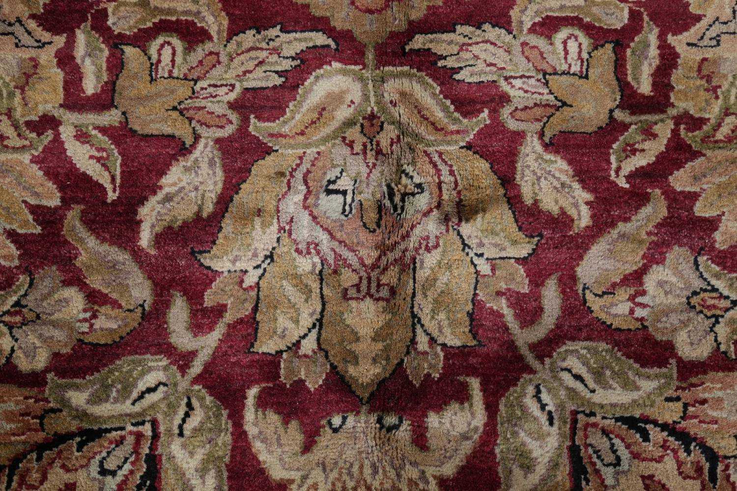 Mansion Floral Burgundy Agra Oriental Hand-Knotted Rug Wool 12x18 image 9