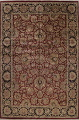 Mansion Floral Burgundy Agra Oriental Hand-Knotted Rug Wool 12x18 image 1
