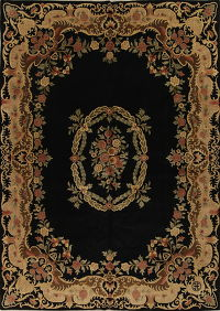 Floral Black Nepalese Tibetan Oriental Hand-Knotted Area Rug Wool 10x14