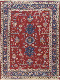 Geometric Red Sumak Turkish Reversible Area Rug Wool 9x12