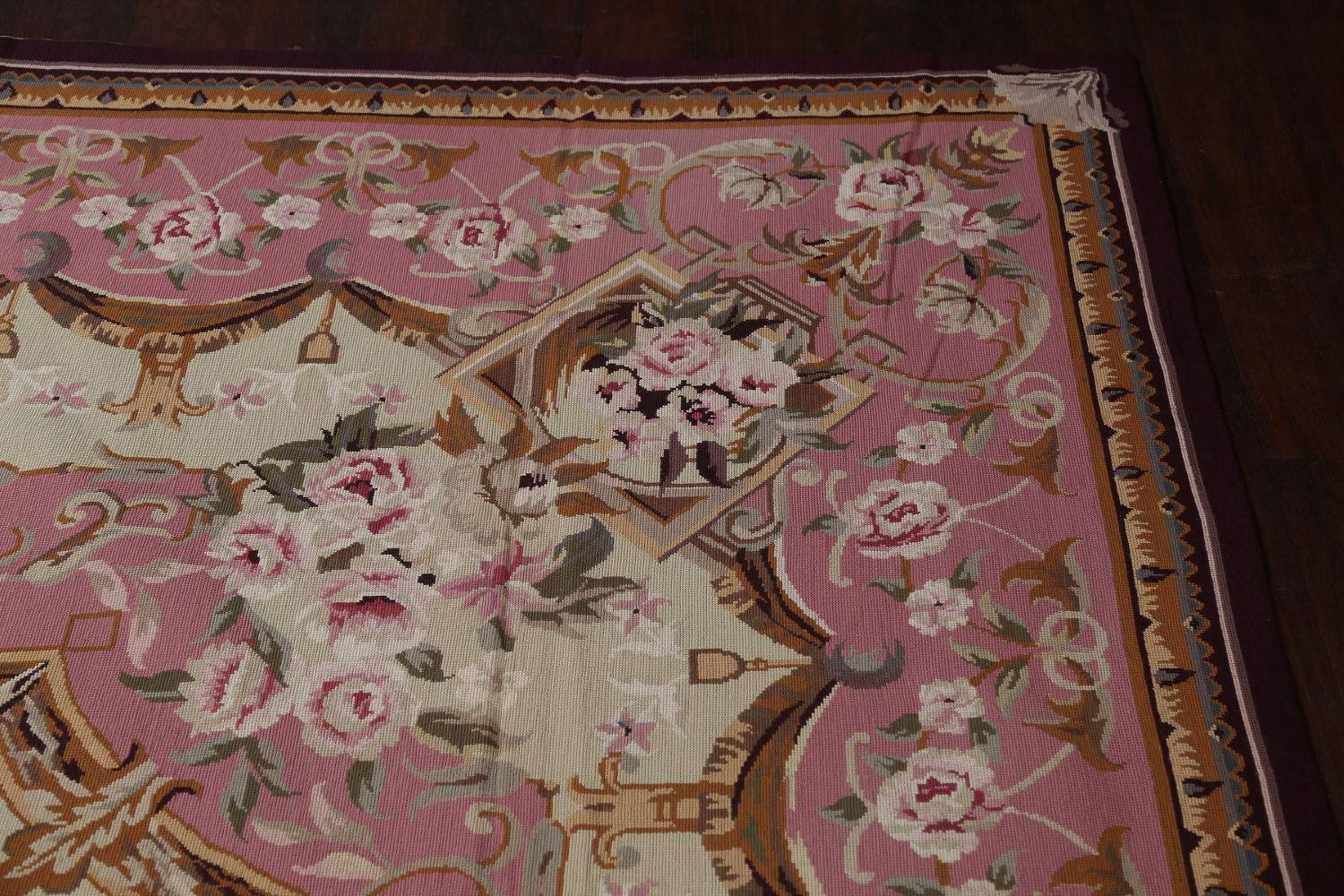 Floral Pink Savonnerie Needlepoint Aubusson Chinese Oriental Hand-Woven Area Rug 8x11