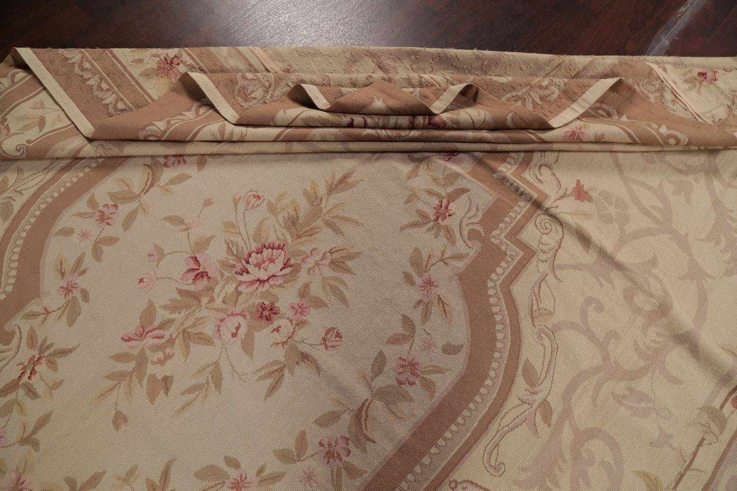 Floral Aubusson Chinese Oriental Hand-Woven Area Rug Wool 10x14