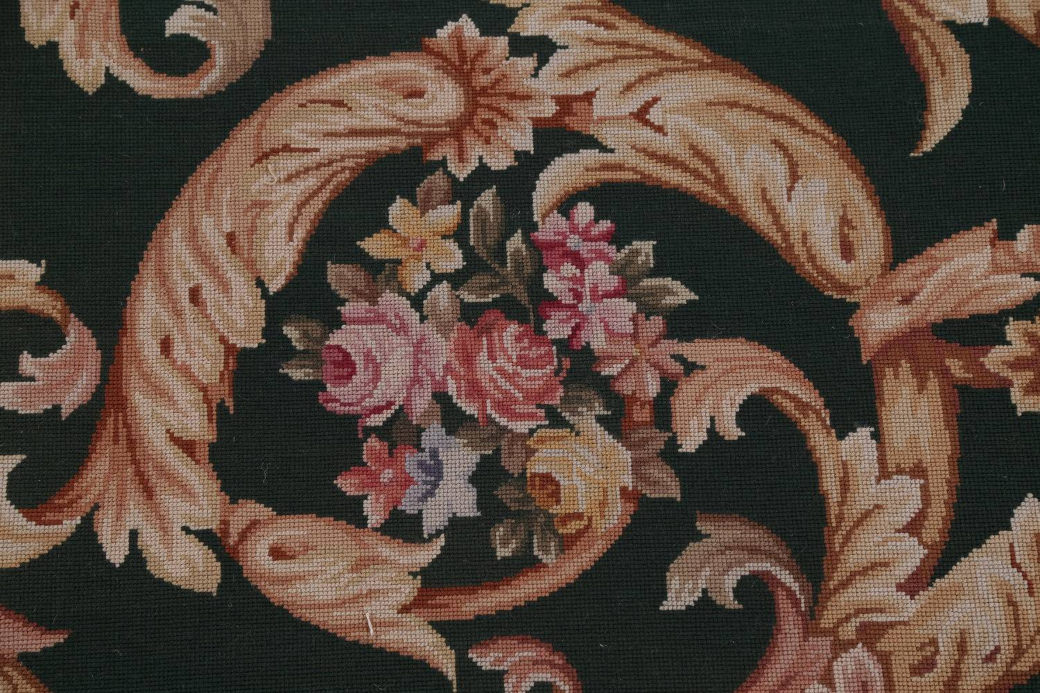 Floral Green Savonnerie Aubusson Chinese Oriental Hand-Woven Rug 12x18