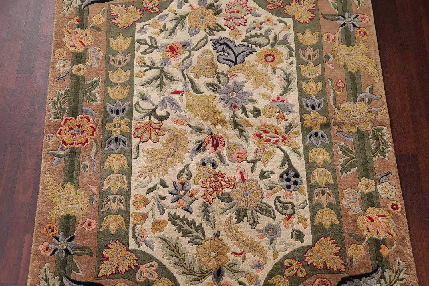 Floral Ivory Nepal Tibetan Oriental Hand-Knotted Area Rug Wool 6x9