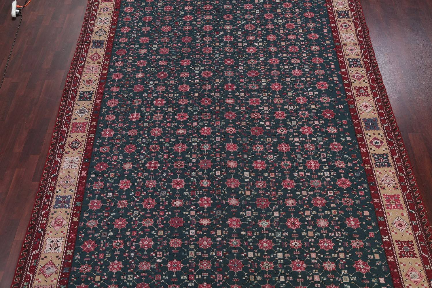 All-Over Teal Green Sumak Turkish Oriental Hand-Woven Area Rug Wool 10x14