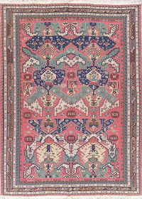 Geometric Pink Sumak Turkish Oriental Hand-Woven Area Rug Wool 8x11