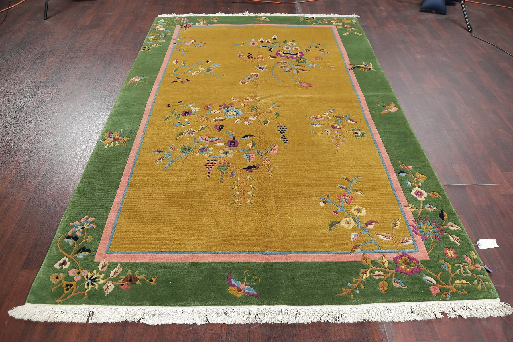 Transitional Floral Gold Art Deco Chinese Oriental Area Rug Wool 6x9