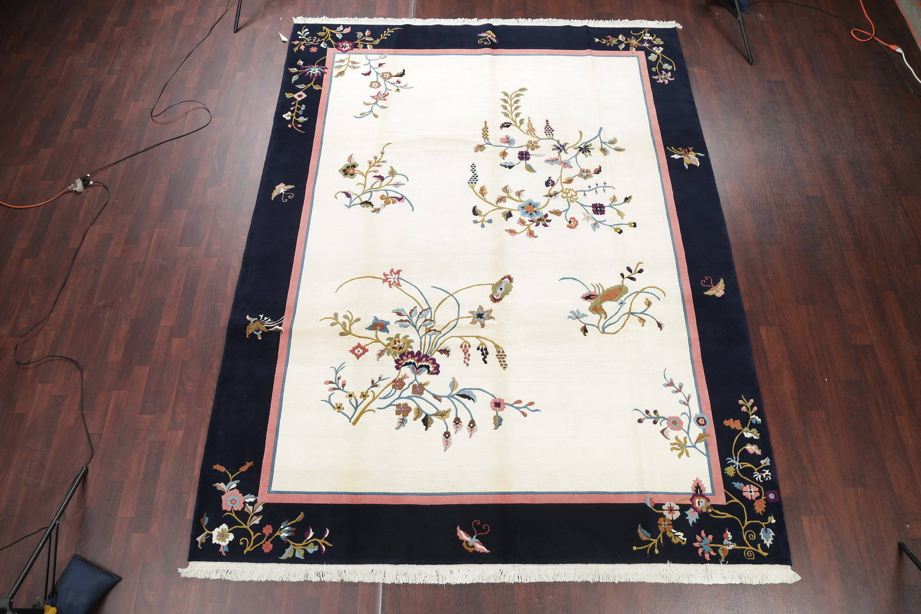 Transitional Floral Ivory Art Deco Chinese Oriental Area Rug 9x12
