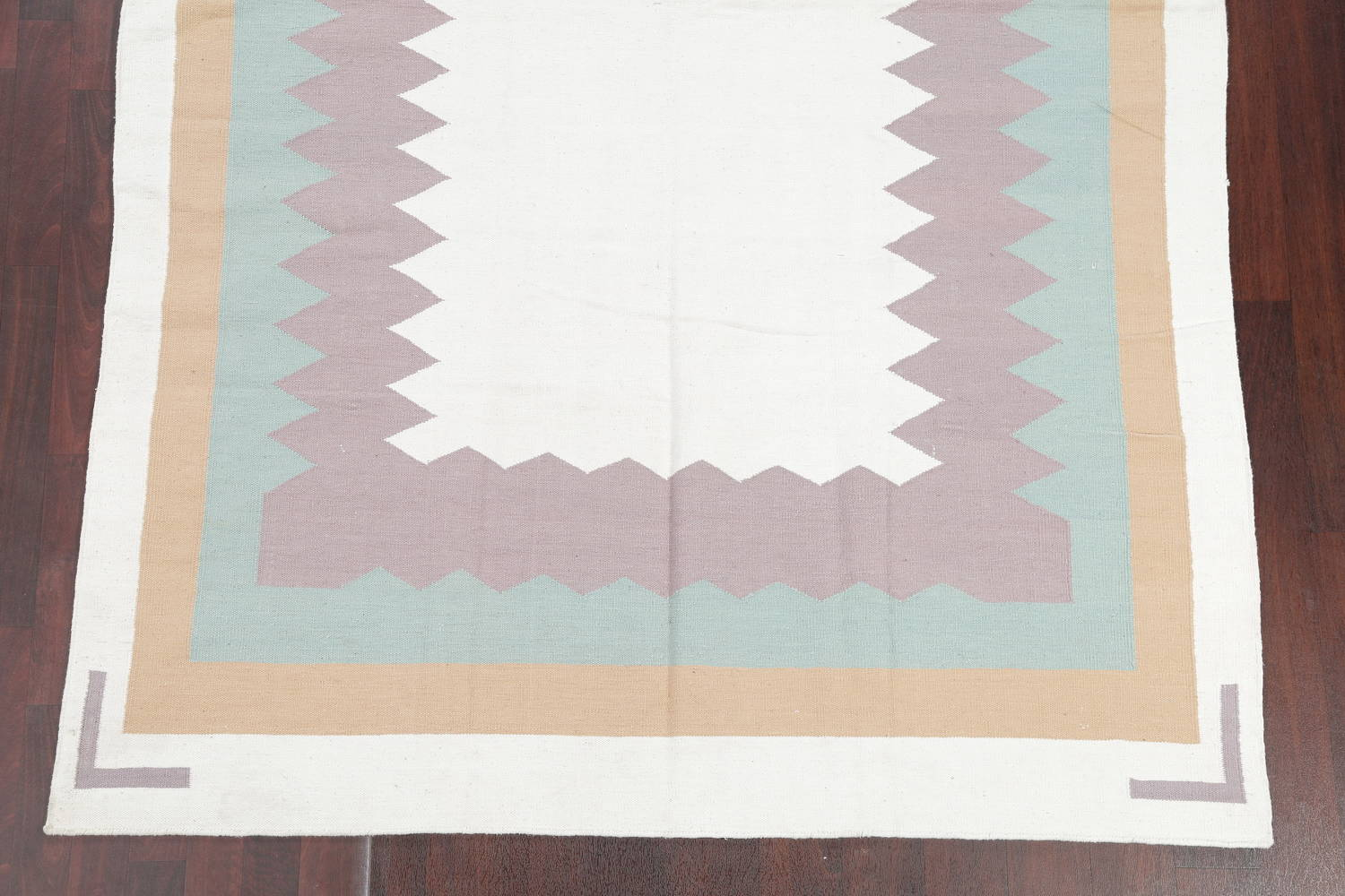 Geometric Ivory Contemporary Kilim Dhurrie Hand-Woven Area Rug Wool 6x9 image 5