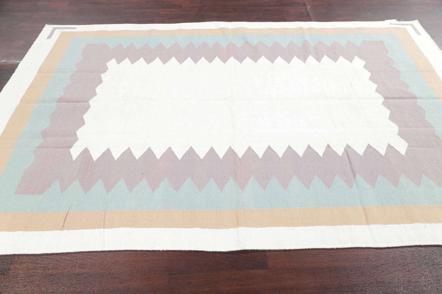 Geometric Ivory Contemporary Kilim Dhurrie Hand-Woven Area Rug Wool 6x9 image 11