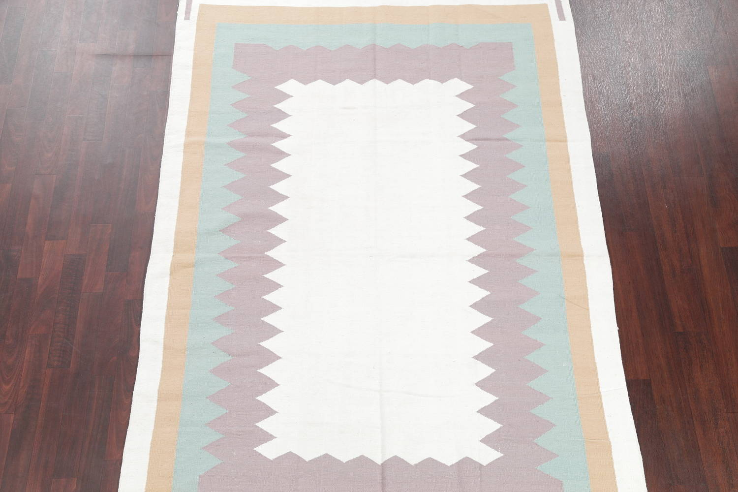Geometric Ivory Contemporary Kilim Dhurrie Hand-Woven Area Rug Wool 6x9 image 3