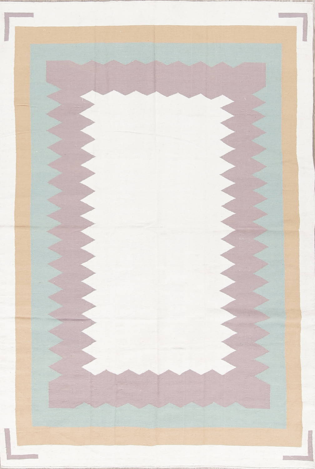 Geometric Ivory Contemporary Kilim Dhurrie Hand-Woven Area Rug Wool 6x9 image 1