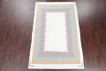 Geometric Ivory Contemporary Kilim Dhurrie Hand-Woven Area Rug Wool 6x9 image 2
