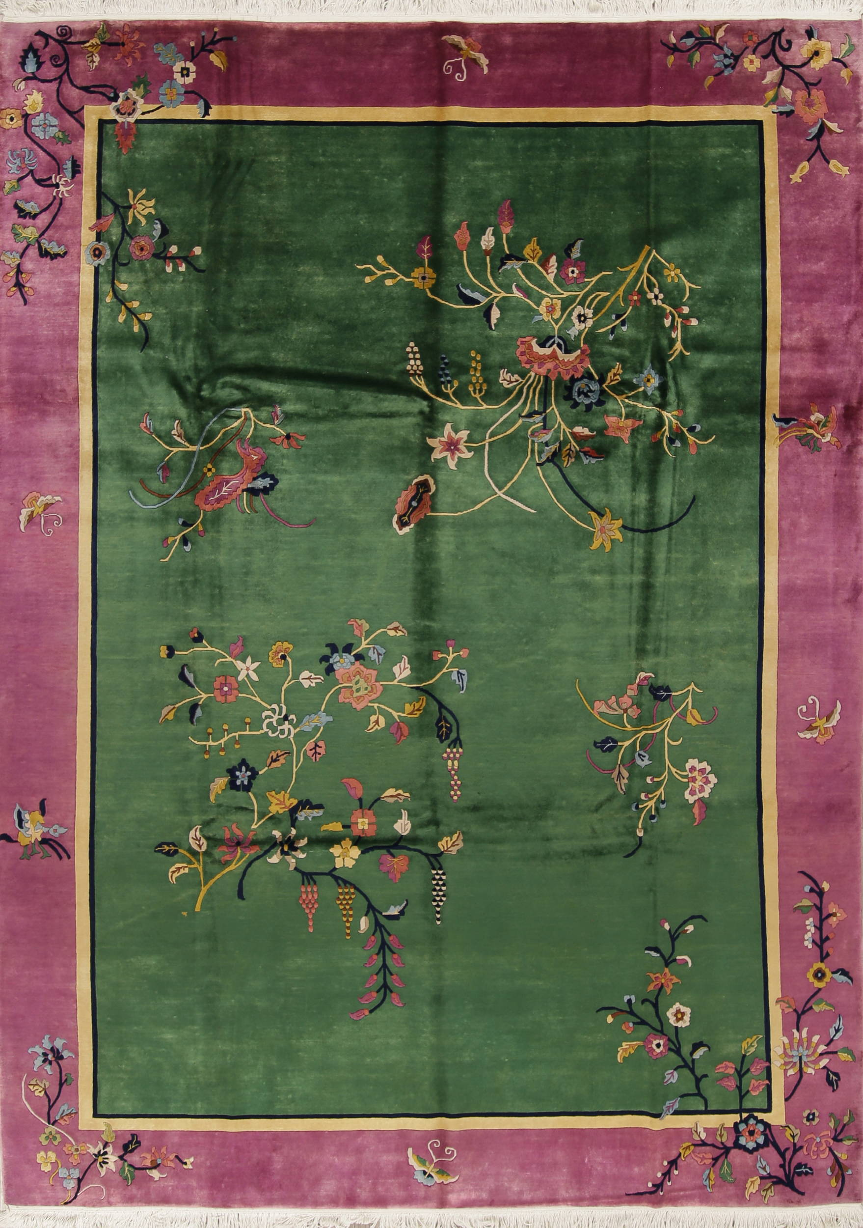 Transitional Floral Green Art Deco Chinese Oriental Hand Knotted
