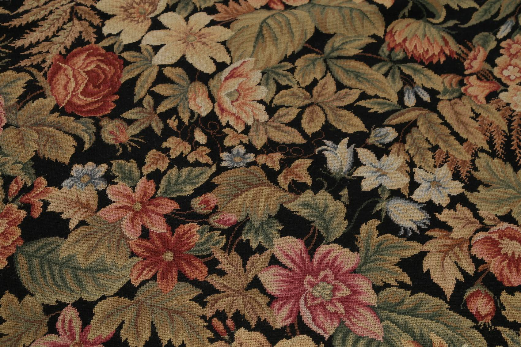 Transitional Floral Aubusson Chinese Oriental Hand-Woven Rug 12x18