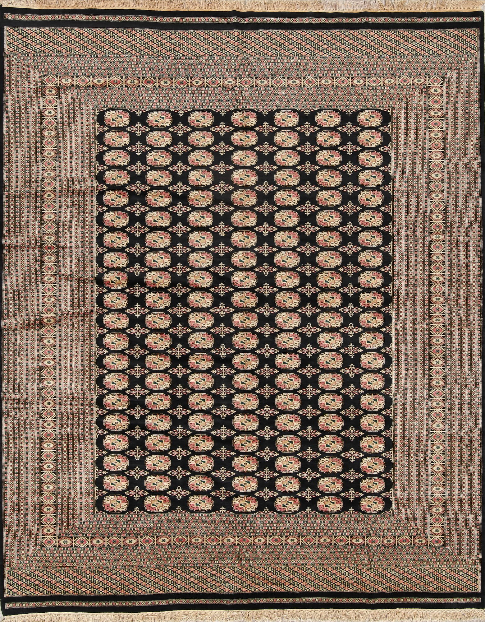 Geometric Black Bokhara Pakistan Oriental Hand-Knotted Area Rug Wool 8x10