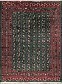 Teal Green Bokhara Pakistan Oriental Hand-Knotted Area Rug 9x12