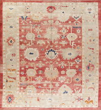 Geometric Red Oushak Turkish Oriental Hand-Knotted Area Rug Wool 13x15