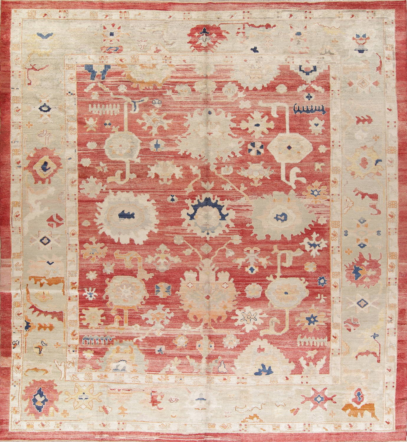 Geometric Red Oushak Turkish Oriental Hand-Knotted Area Rug Wool 13x15 image 1