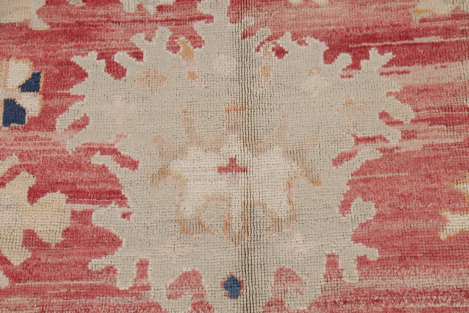 Geometric Red Oushak Turkish Oriental Hand-Knotted Area Rug Wool 13x15 image 7