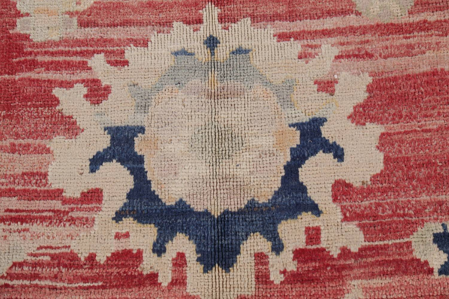 Geometric Red Oushak Turkish Oriental Hand-Knotted Area Rug Wool 13x15 image 9