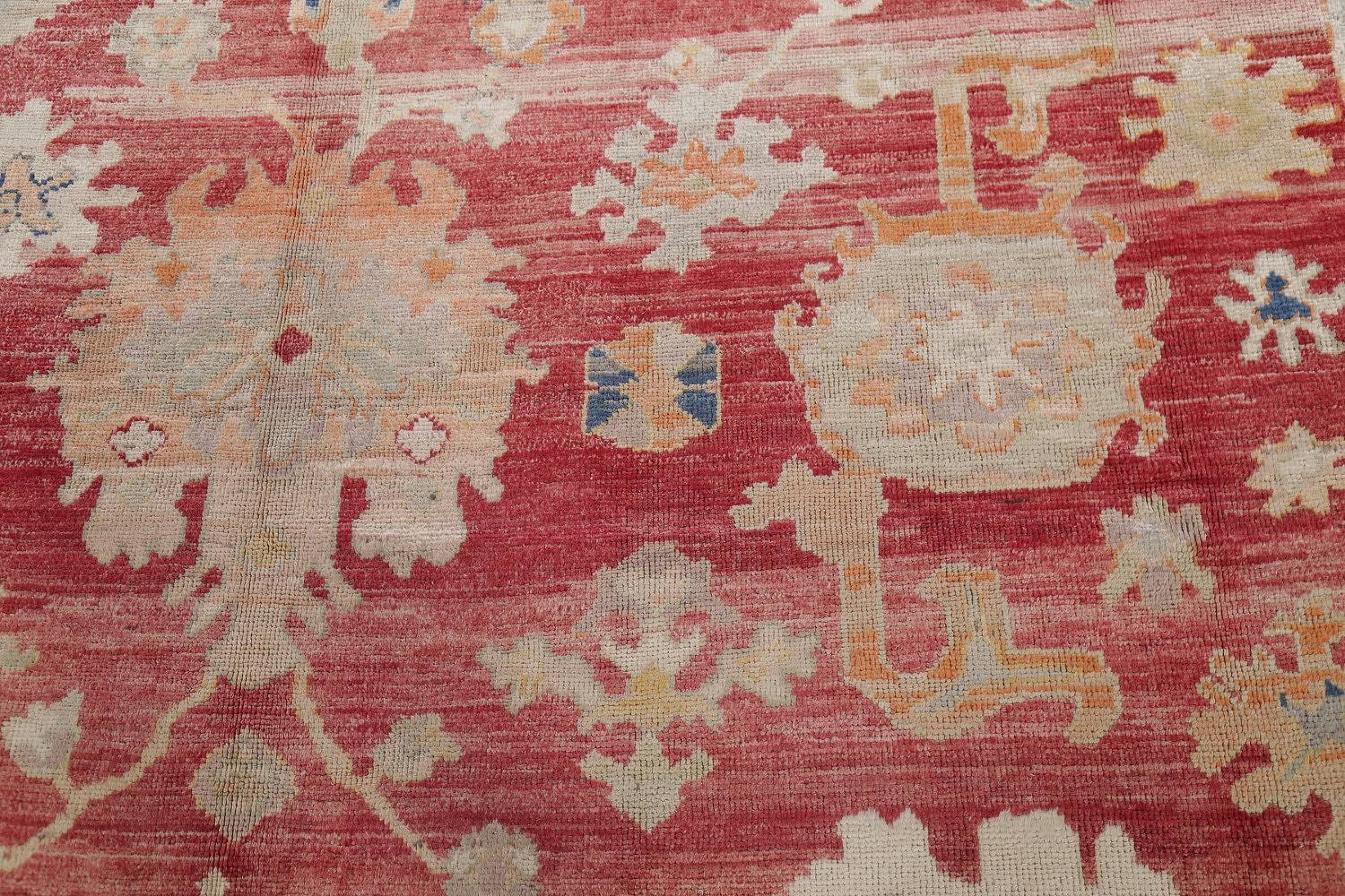 Geometric Red Oushak Turkish Oriental Hand-Knotted Area Rug Wool 13x15 image 10