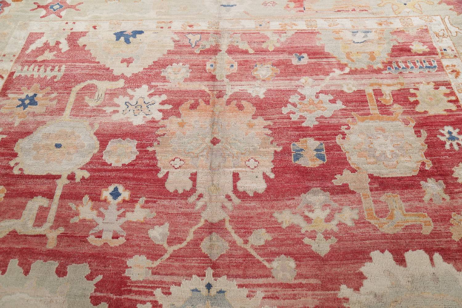 Geometric Red Oushak Turkish Oriental Hand-Knotted Area Rug Wool 13x15 image 15