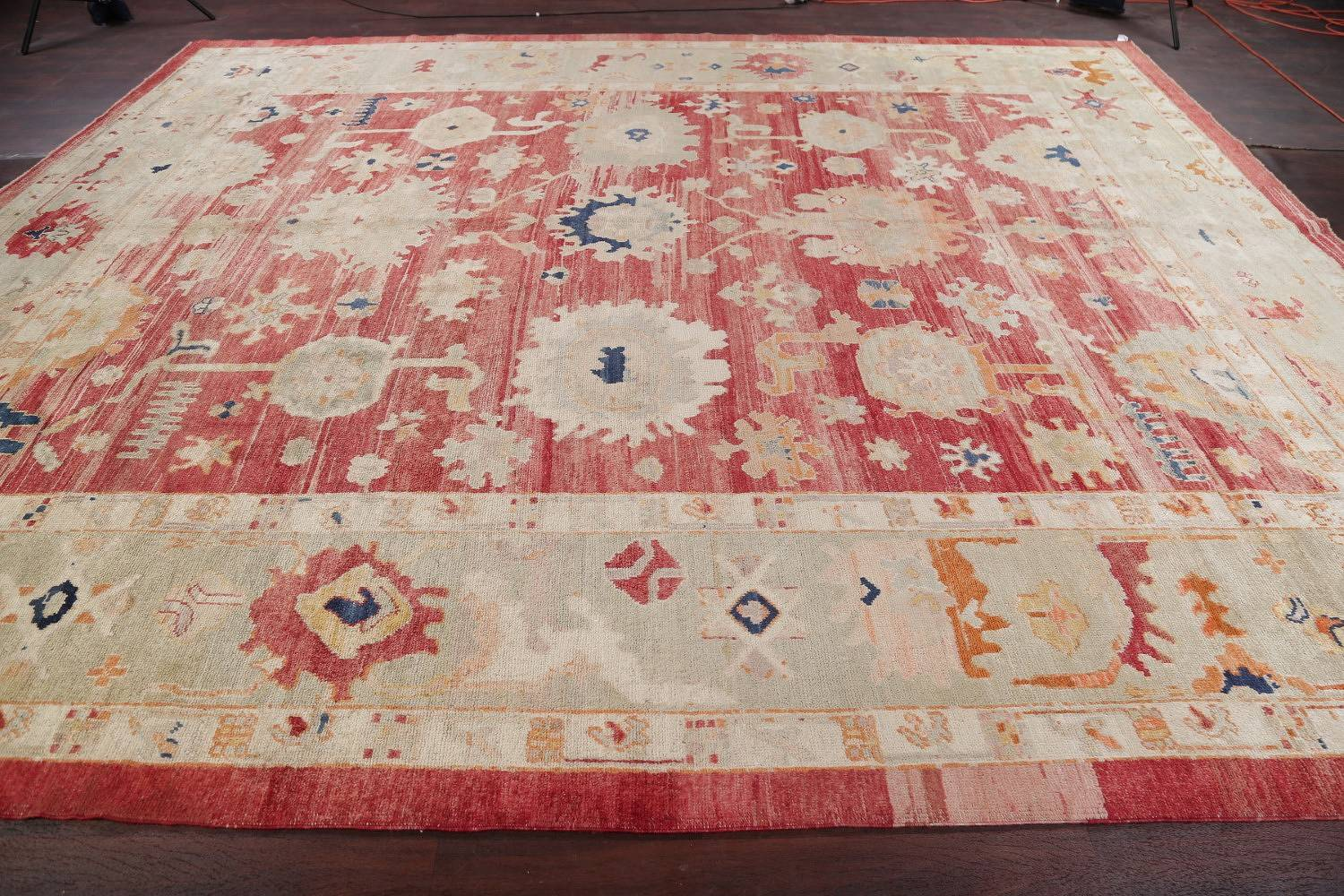 Geometric Red Oushak Turkish Oriental Hand-Knotted Area Rug Wool 13x15 image 17
