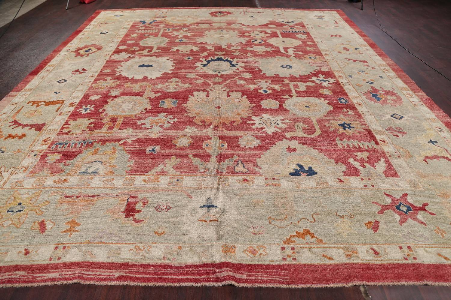 Geometric Red Oushak Turkish Oriental Hand-Knotted Area Rug Wool 13x15 image 18