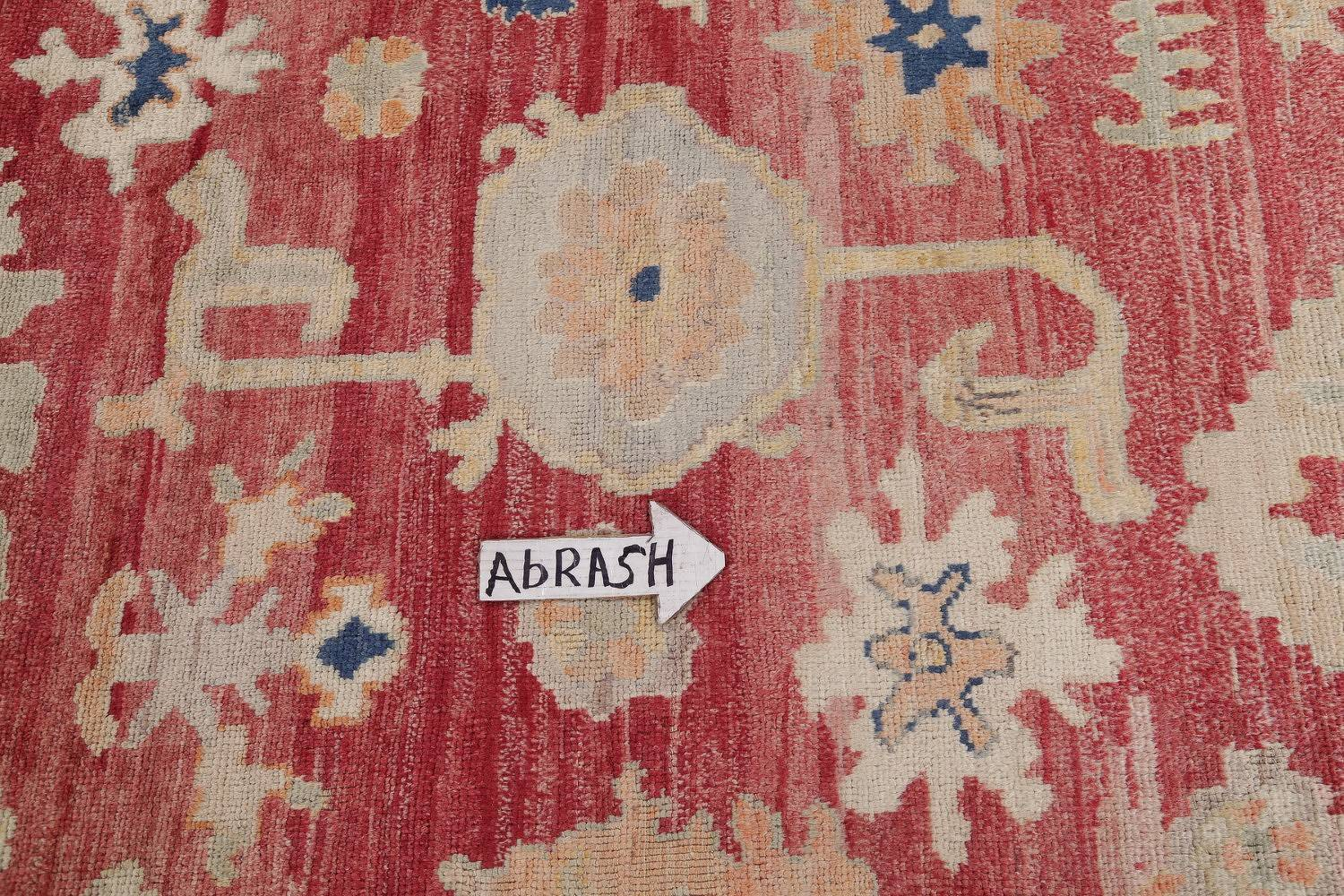 Geometric Red Oushak Turkish Oriental Hand-Knotted Area Rug Wool 13x15 image 13