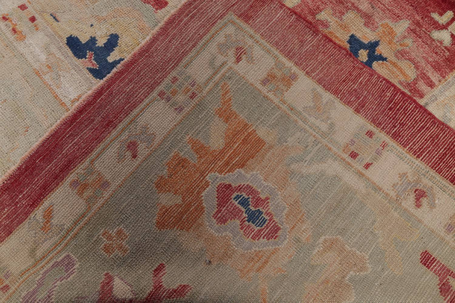 Geometric Red Oushak Turkish Oriental Hand-Knotted Area Rug Wool 13x15 image 23