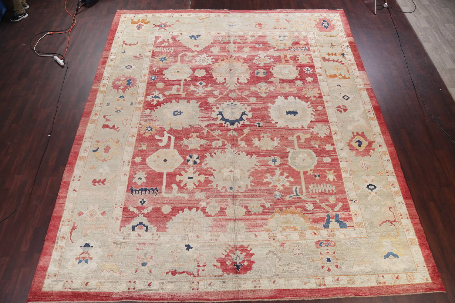 Geometric Red Oushak Turkish Oriental Hand-Knotted Area Rug Wool 13x15 image 2