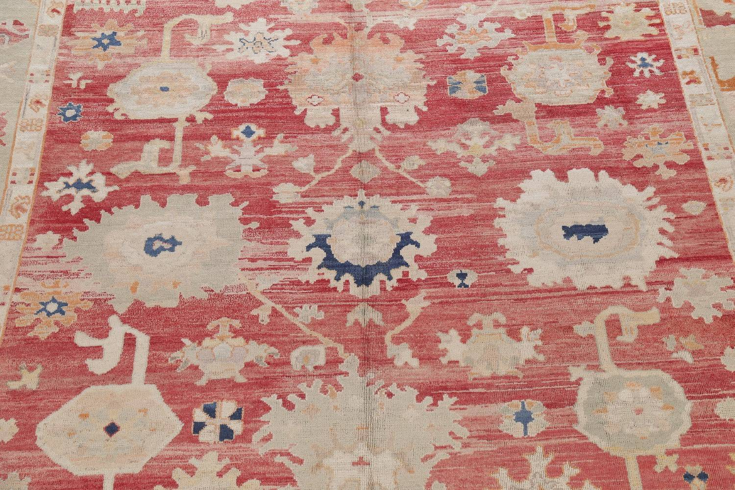 Geometric Red Oushak Turkish Oriental Hand-Knotted Area Rug Wool 13x15 image 4