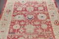 Geometric Red Oushak Turkish Oriental Hand-Knotted Area Rug Wool 13x15 image 3