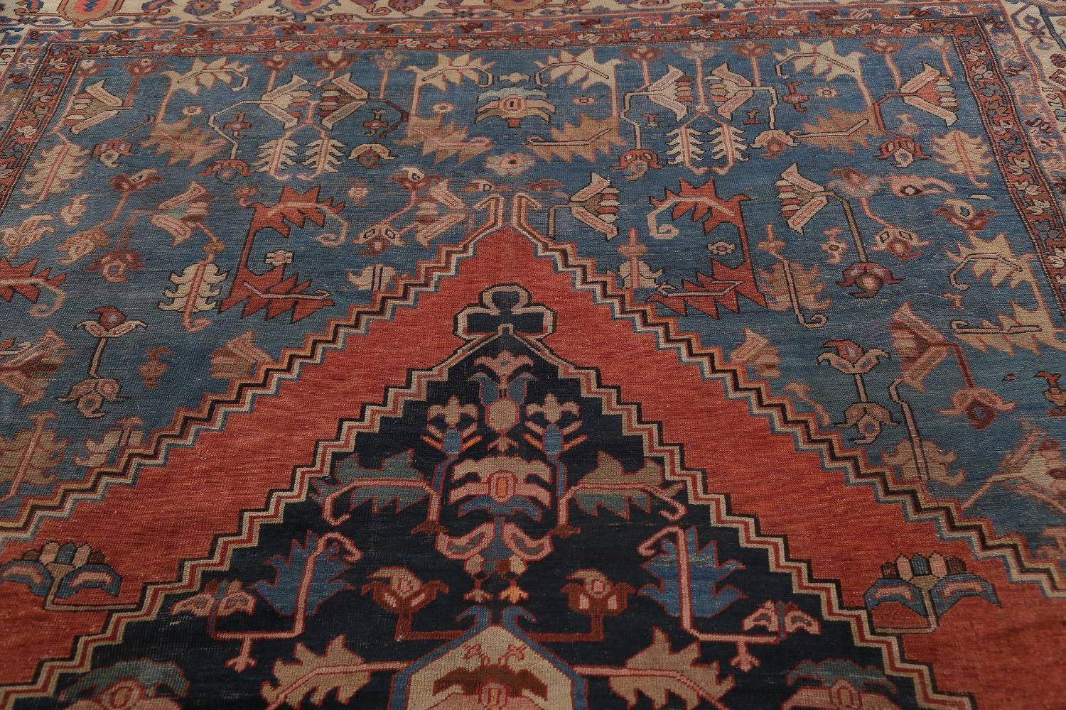 Pre-1900 Antique Geometric Blue Heriz Serapi Bakhshayesh Persian Area Rug 11x15