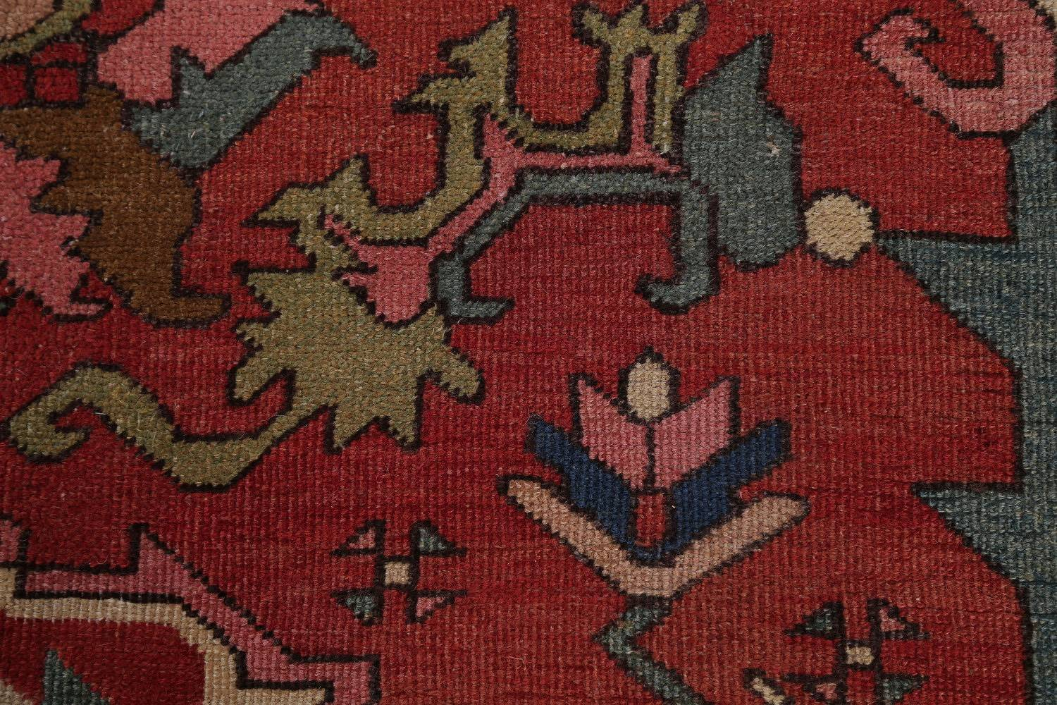 Pre-1900 Antique Vegetable Dye Geometric Heriz Serapi Persian Area Rug 12x16