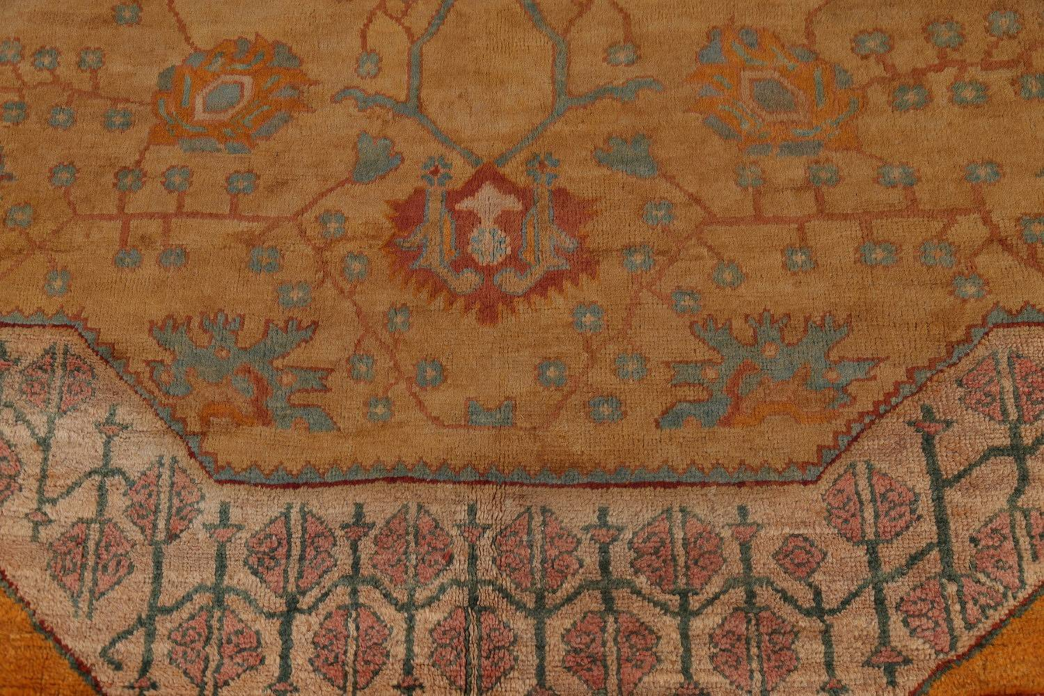Pre-1900 Antique Mansion Gold Oushak Turkish Oriental Area Rug Wool 14x19