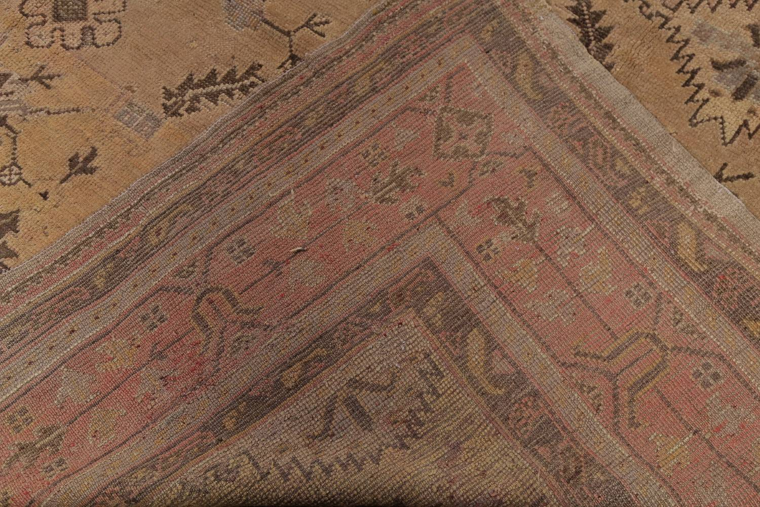 Pre-1900 Antique All-Over Geometric Muted Color Oushak Turkish Area Rug 10x13 image 24