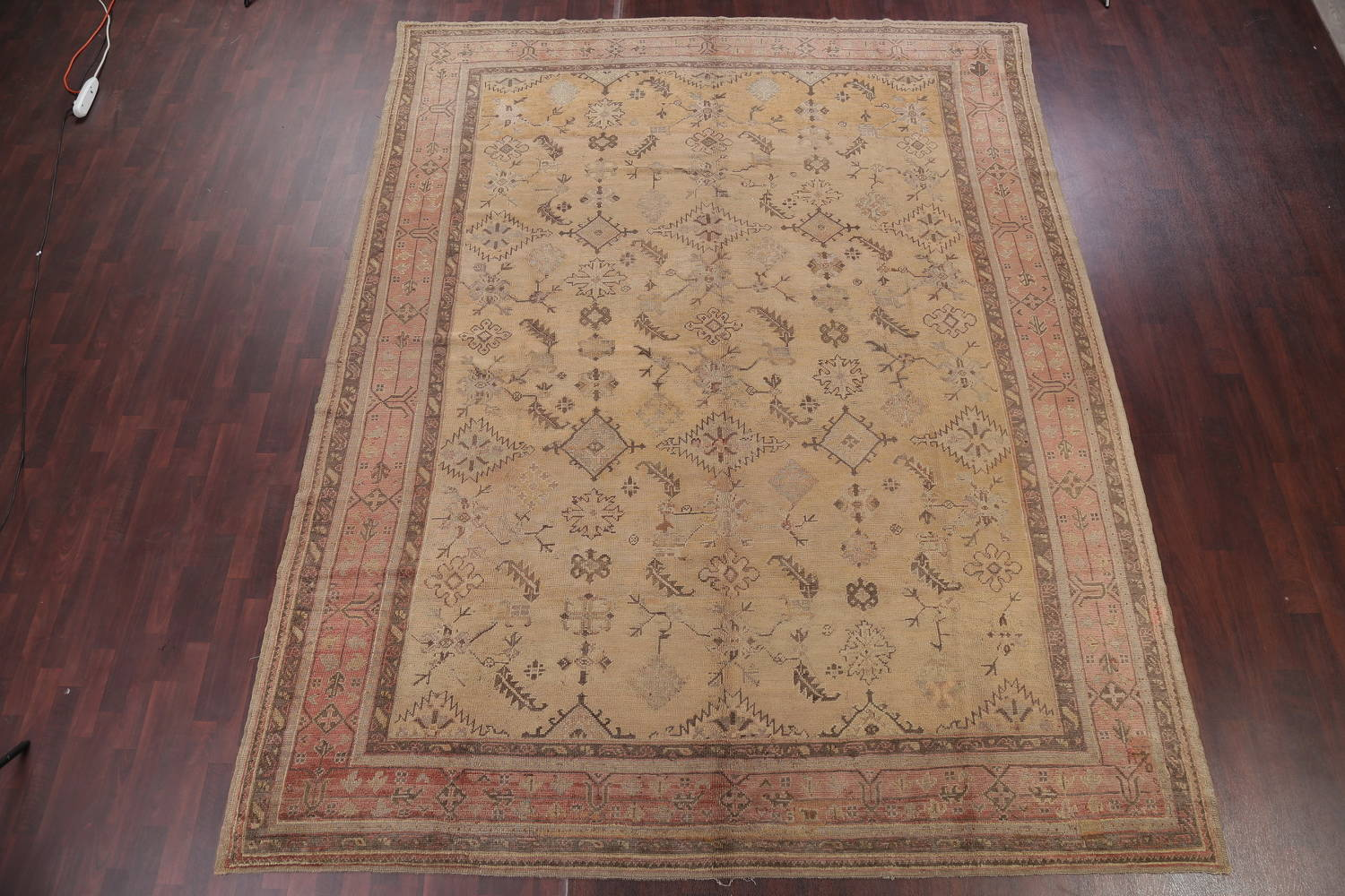 Pre-1900 Antique All-Over Geometric Muted Color Oushak Turkish Area Rug 10x13 image 2