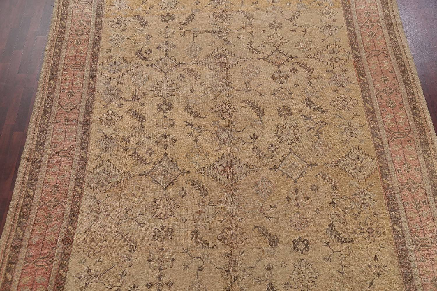 Pre-1900 Antique All-Over Geometric Muted Color Oushak Turkish Area Rug 10x13 image 3