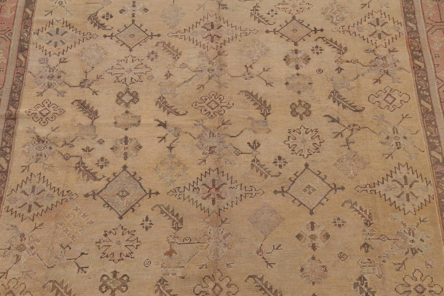 Pre-1900 Antique All-Over Geometric Muted Color Oushak Turkish Area Rug 10x13 image 4