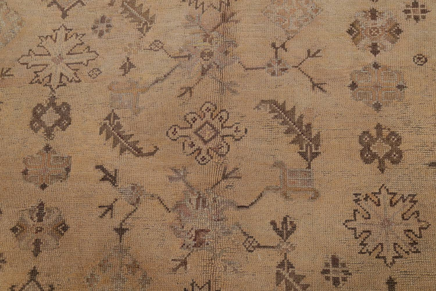 Pre-1900 Antique All-Over Geometric Muted Color Oushak Turkish Area Rug 10x13 image 11